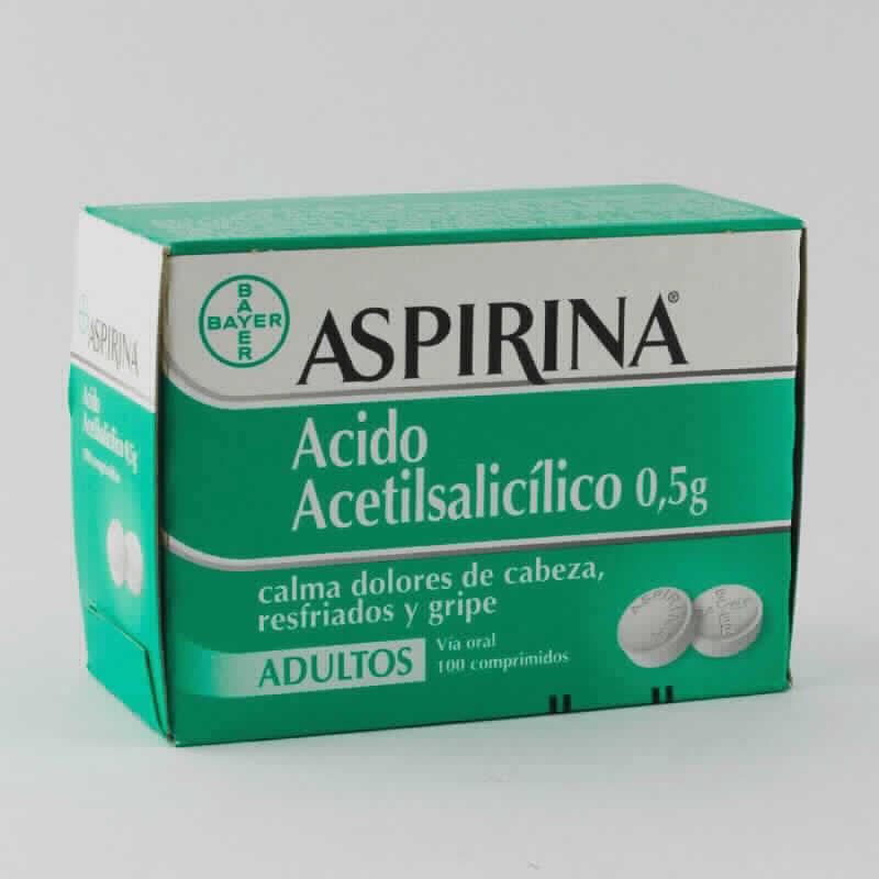 Imagen de producto: ASPIRINA ® Acido Acetilsalicílico 0,5g - Caja de 100 comprimidos