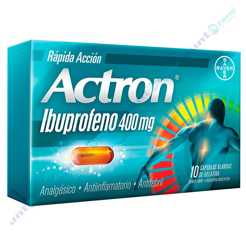 Imagen de producto: Actron® Ibuprofeno 400 mg - Caja de 10 cápsulas