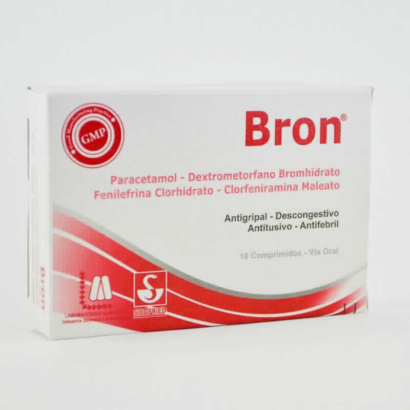 Imagen de producto: Bron® Antigripal-Descongestivo-Antitusivo-Antifebril - Caja de 10 comprimidos