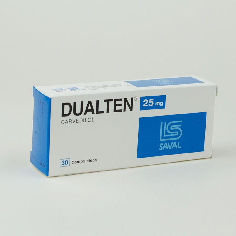 Imagen de producto: Dualten® Carvedilol 25mg - Caja de 30 comprimidos