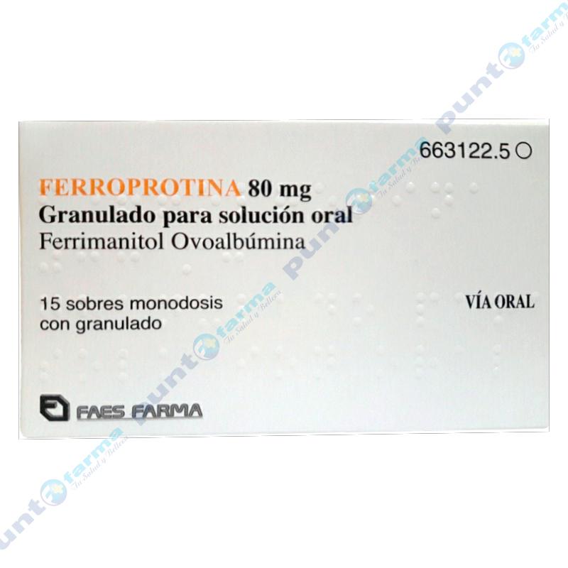 Imagen de producto: Ferroprotina 80mg - Caja de 15 sobres