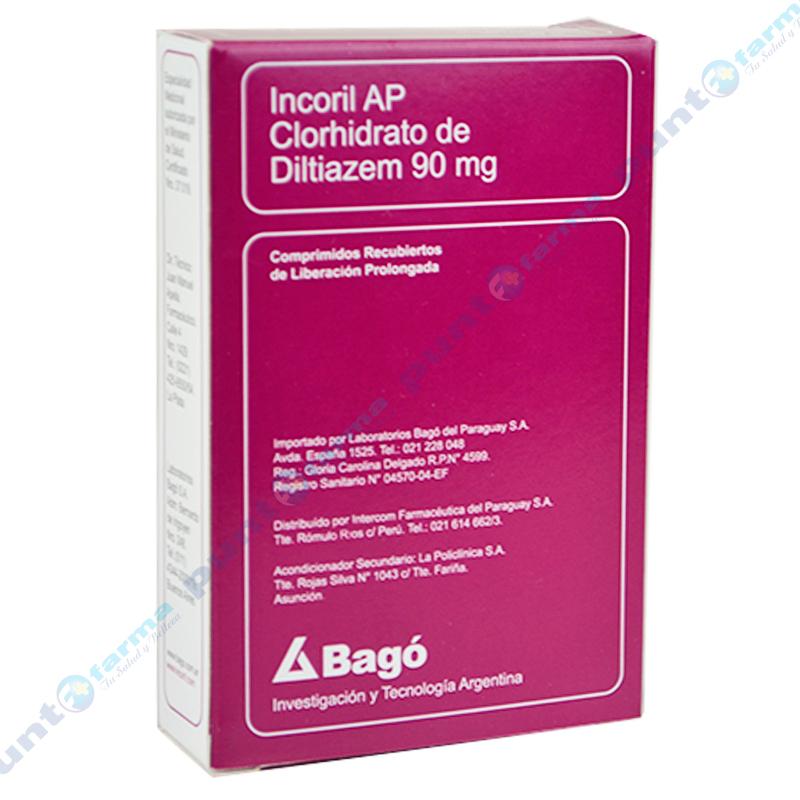 Imagen de producto: Incoril AP clorhidrato de diltiazem 90mg - Caja de 30 comprimidos recubiertos
