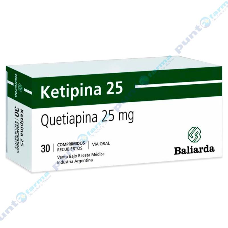 Imagen de producto: Ketipina 25 Quetiapina 25 mg - Caja de 30 comprimidos recubiertos