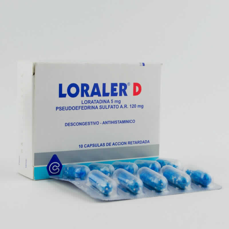 Imagen de producto: LORALER® D Loratadina 5 mg  Pseudoefedrina Sulfato A.R. 120 mg - Caja de 10 cápsulas de acción retardada