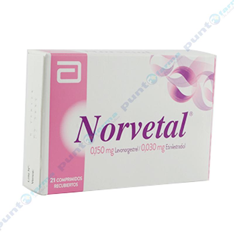 Imagen de producto: Norvetal® Levonorgestrel 0,150 mg Etinilestradiol 0,030 mg - Caja de 21 comprimidos recubiertos