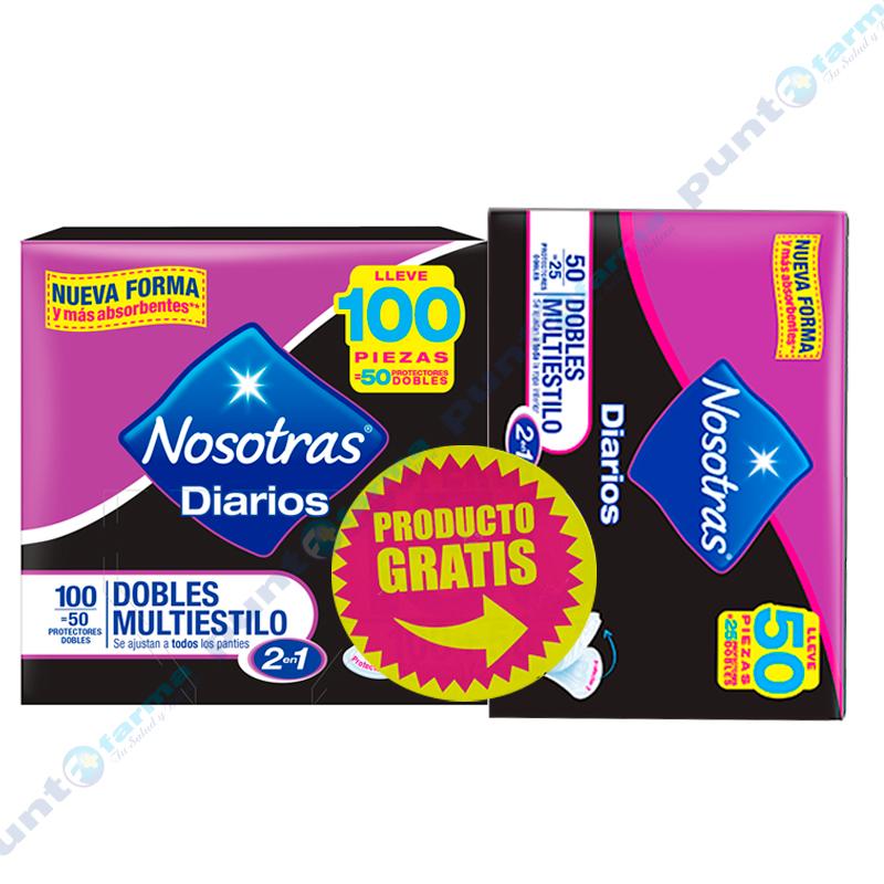 Imagen de producto: Nosotras® Diarios Dobles Multiestilo Lleve 100 Piezas / 50 Protectores + 50 Piezas / 25 Protectores