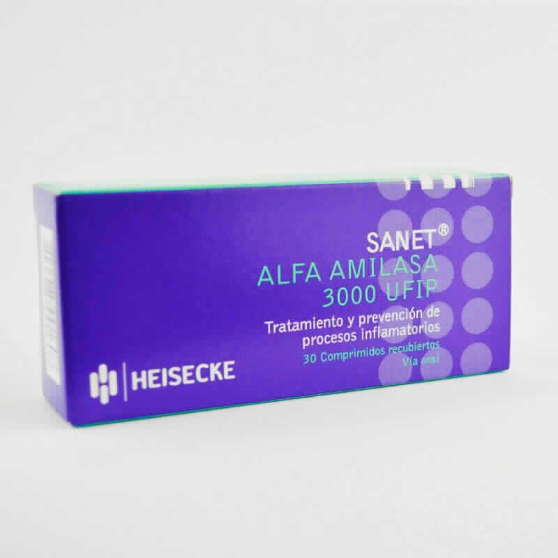 Imagen de producto: SANET® Alfa Milasa 300 UFIP - Caja de 30 comprimidos recubiertos