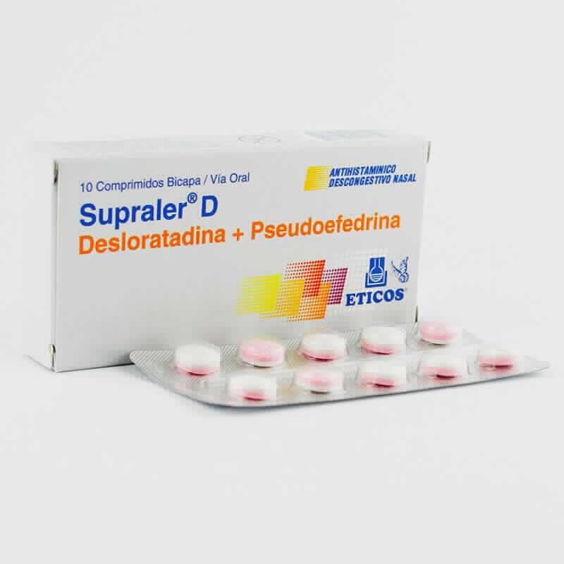 Imagen de producto: Supraler® D Desloratadina + Pseudoefedrina - Caja de 10 comprimidos bicapa
