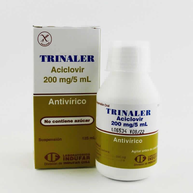 Imagen de producto: TRINALER Aciclovir 200mg/5ml  - Contenido de 125 ml Suspensión