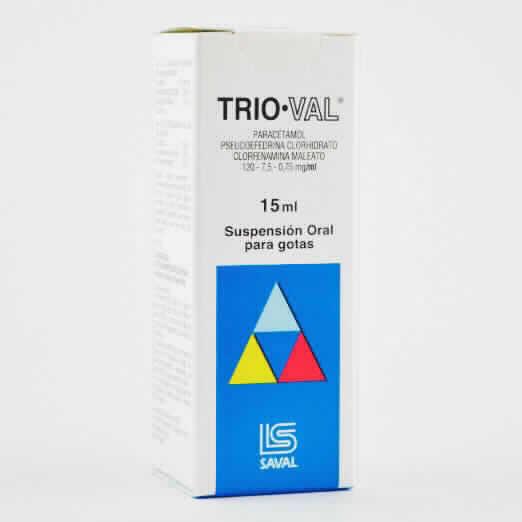 Imagen de producto: TRIO-VAL®  Paracetamol Clorhidrato Clorfenamina Maleato - Suspensión oral 15 ml