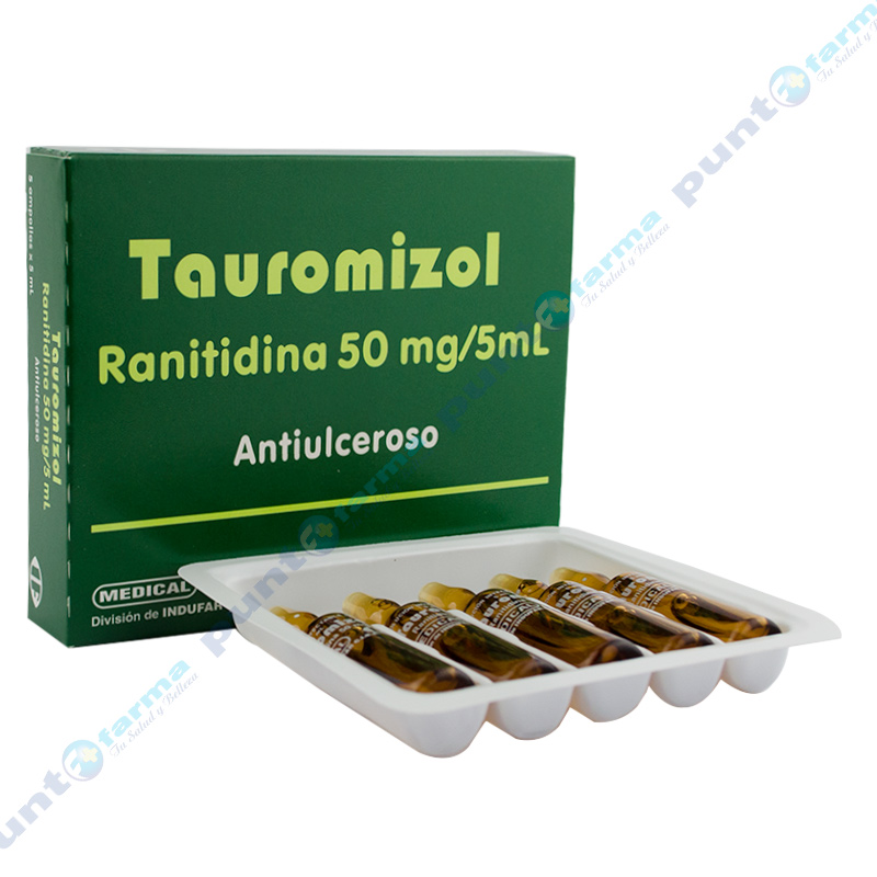 Imagen de producto: Tauromizol Ranitidina 50 mg - Solucion inyectable de 5 ampollas