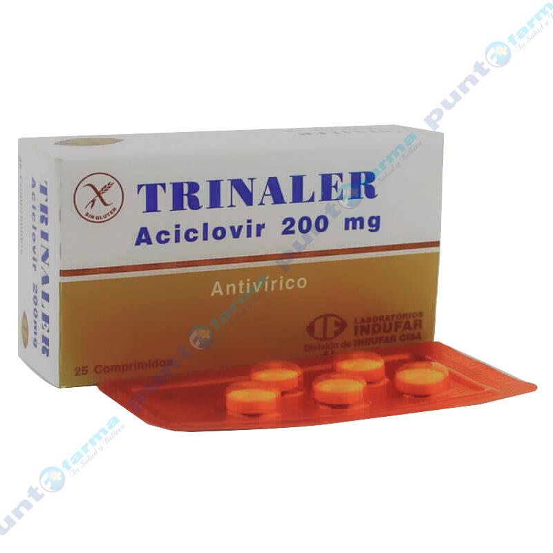 Imagen de producto: Trinaler Aciclovir 200mg - Caja de 25 comprimidos