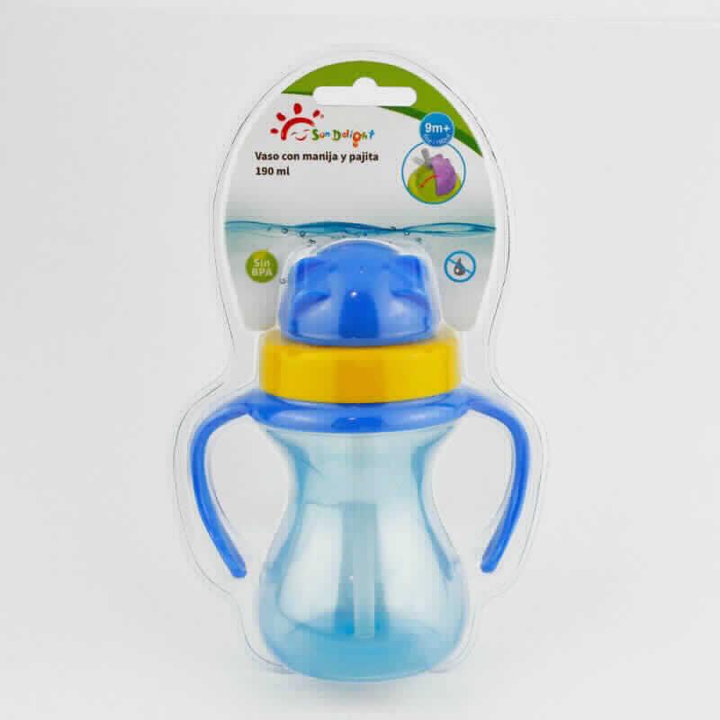 Imagen de producto: Vaso con manija y pajita Sun Delight - Cont. 190 ml