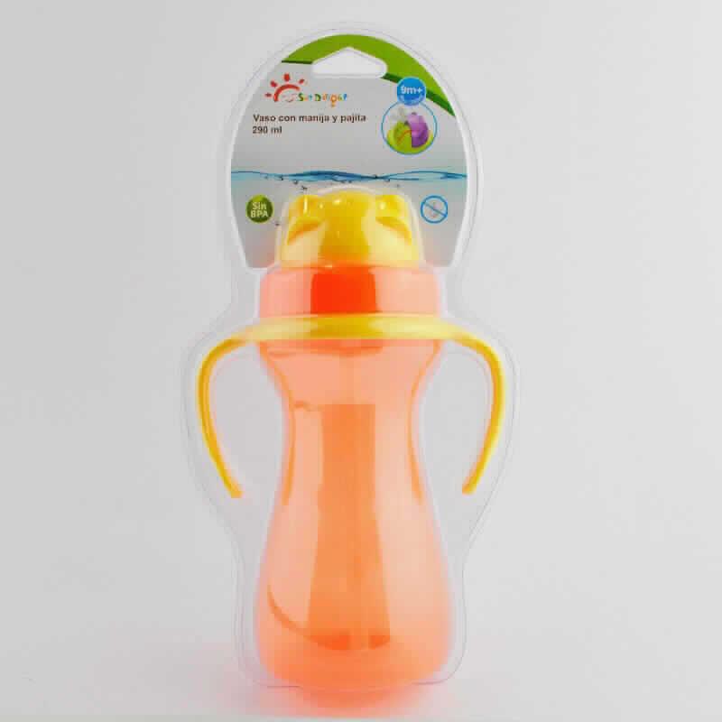 Imagen de producto: Vaso con manija y pajita SunDelight - 290ml