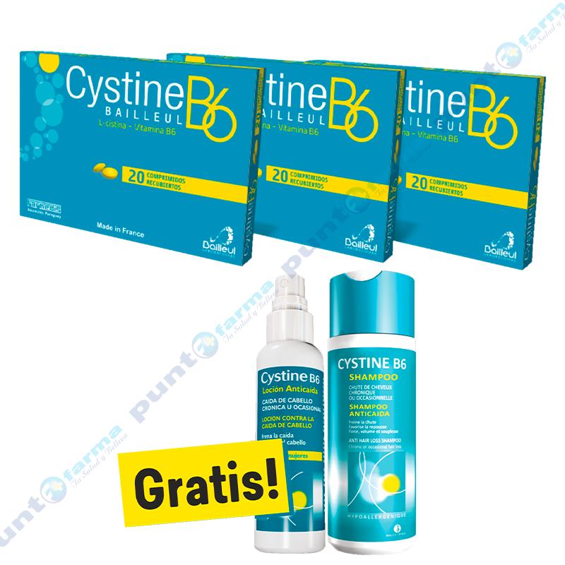 Imagen de producto: Vitaminas B6 Cystine x3 caja de 20 comp. + Loción 125mL  + Shampoo 200mL