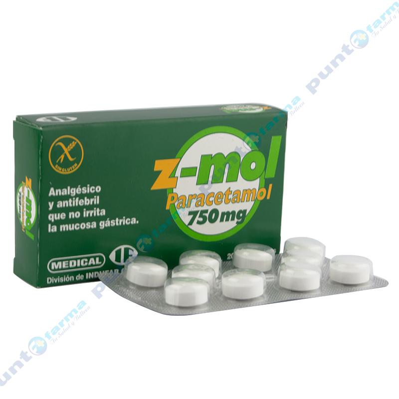 Imagen de producto: Z-mol 750 mg - Caja de 20 comprimidos
